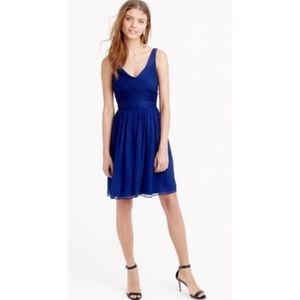 J Crew silk chiffon navy blue Heidi dress